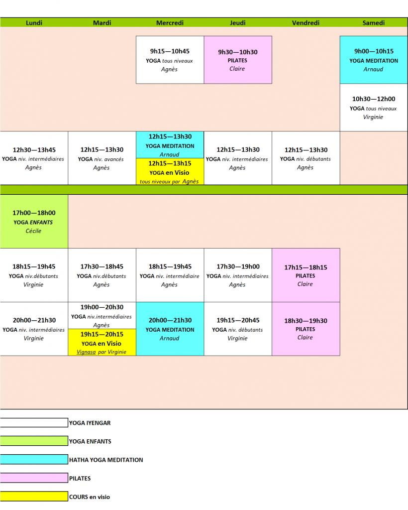 Planning des cours 2021/2022
